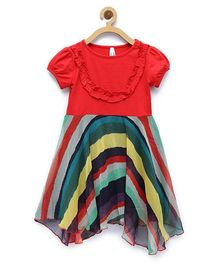 StyleStone Rainbow Dress With Asymmetric Hemline - Multicolor