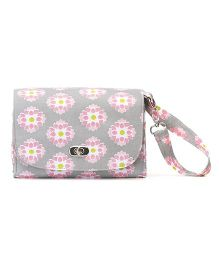 Demdaco Diaper Clutch Bag Floral Print - Light Grey & Pink