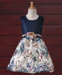 Babyhug Party Wear Sleeveless Frock Floral Appliques - White Navy Blue