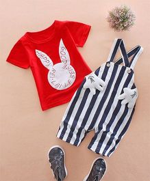 Pre Order - Awabox Striped Dungaree & Tee Set - Red