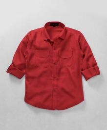 Robo Fry Full Sleeves Solid Color Party Shirt With Bow - Red