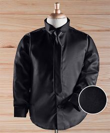 Robo Fry Full Sleeves Solid Color Party Shirt With Tie - Black