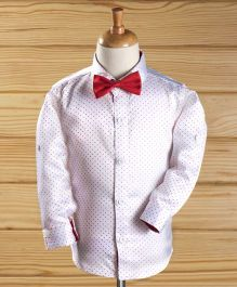 Robo Fry Full Sleeves Shirt With Bow Dots Print - White