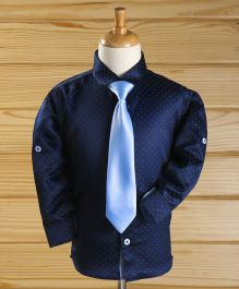Robo Fry Full Sleeves Shirt With Tie Dots Print - Navy