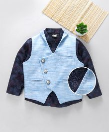 Robo Fry Full Sleeves Party Wear Shirt With Jacket - Navy Blue
