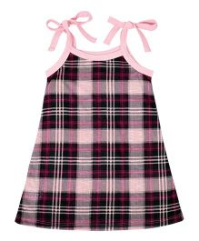 CrayonFlakes Checks Strap Tie Dress - Pink & Black