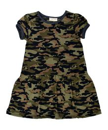 CrayonFlakes Camouflage Short Sleeves Knit Dress - Dark Green