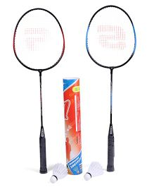 Super K Badminton Set With 12 Shuttle Cocks - Racket Length 68 cm