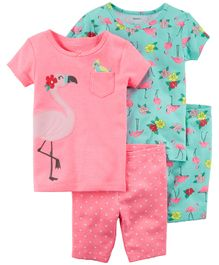 Carter's 4-Piece Neon Flamingo Snug Fit Cotton Night Suit - Pink Green