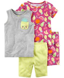 Carter's 4-Piece Fruit Snug Fit Cotton Night Suit - Pink Yellow Grey