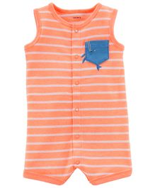 Carter's Sleeveless Striped Romper - Peach