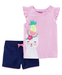 Carter's 2 Piece Kitty Flutter-Sleeve Top & French Terry Short Set - Pink Navy Blue