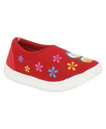 Myau Penguine Cartoon Printed Casual Shoes - Red