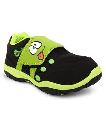 Myau Smiley Velcro Closure Sports Shoes-Black Green