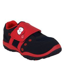 Myau Smiley Velcro Closure Sports Shoes-Navy Red