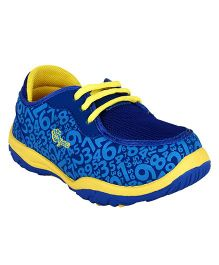 Myau Numbers Printed Laced Up Casual Shoes-Blue Yellow  ( 7 to 8 Years)