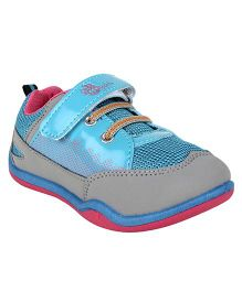 Myau Solid Shiny Velcro Closure Casual Shoes - Blue & Pink