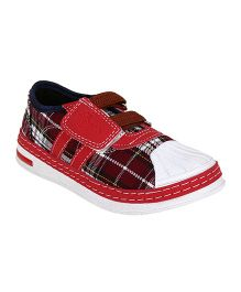 Myau Checked Design Velcro Closure Casual Shoes-Red White