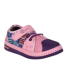 Myau Solid Velcro Closure Casual Shoes-Pink Purple