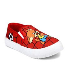 Myau Cartoon Printed Slip on Casual Shoes-Red (7 to 7.5 Years)
