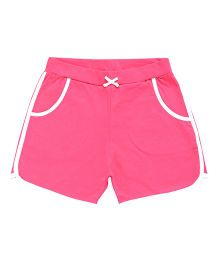 Parrot Crow Plain Shorts With Contrast Border - Pink