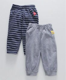 Little Kangaroos Full Length Lounge Pants Stripe Print Pack of 2 - Navy Grey