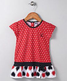 Teddy Short Sleeves Frock Heart Print - Red