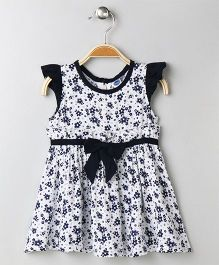 Teddy Cap Sleeves Frock Allover Floral Print - White & Navy