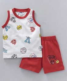 Teddy Printed Sleeveless Tee And Shorts - White Red
