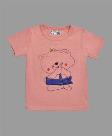 Kiwi Cartoon Print T-Shirt - Peach