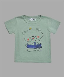 Kiwi Cartoon Print T-Shirt - Green