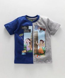 Chhota Bheem Half Sleeves Tee With Free 3D Paper Toy - Grey Blue