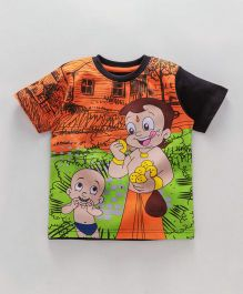 Chhota Bheem Half Sleeves Tee With Free 3D Paper Toy - Green Orange