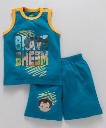 Chhota Bheem Sleeveless Tee & Shorts With Free 3D Paper Toy - Blue Yellow