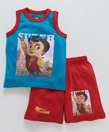 Chhota Bheem Sleeveless Tee & Shorts With Free 3D Paper Toy - Red Blue