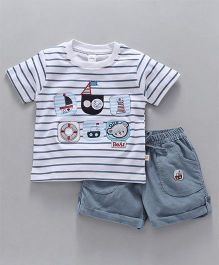 Olio Kids Half Sleeves Striped T-Shirt & Shorts - Blue White