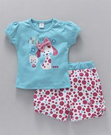 Olio Kids Puff Sleeves Top & Shorts Set Puppy Print - Blue Red