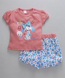 Olio Kids Puff Sleeves Top & Shorts Set Puppy Print - Peach Blue