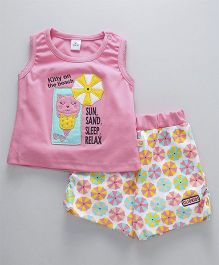 Olio Kids Sleeveless Top & Shorts Kitty Patch - Pink