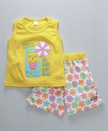 Olio Kids Sleeveless Top & Shorts Kitty Patch - Yellow