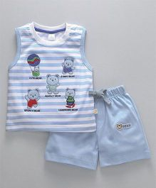 Olio Kids Sleeveless T-Shirt & Shorts Bear Embroidery - Light Blue