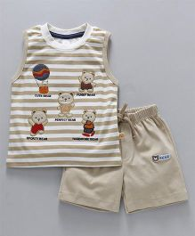 Olio Kids Sleeveless T-Shirt & Shorts Bear Embroidery - Beige