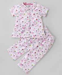 FidoHalf Sleeves Night Floral Print - Light Pink
