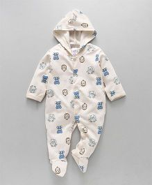 Pink Rabbit Full Sleeves Hooded Sleepsuit Bunny Print - Cream