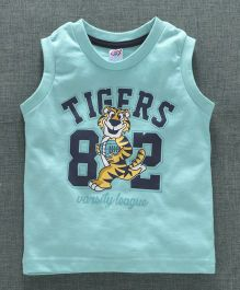 Zero Sleeveless T-Shirt Tigers Print - Sea Green