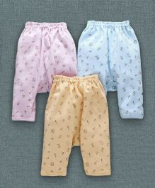 Zero Full Length Diaper Leggings Pack of 3 - Pink Sky Blue Yellow