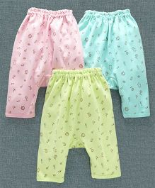 Zero Full Length Diaper Leggings Pack of 3 - Pink Sea & Light Green