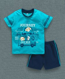 Zero Half Sleeves T-Shirt And Shorts Taxi & City Bus Print -  Blue