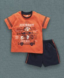Zero Half Sleeves T-Shirt And Shorts Taxi & City Bus Print - Orange Navy Blue