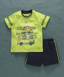 Zero Half Sleeves T-Shirt And Shorts Taxi & City Bus Print - Green Navy Blue